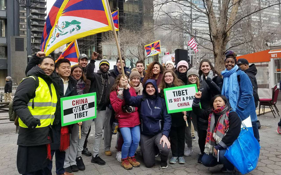 La Salle University students join the Tibetan National Uprising Day rally in New York.