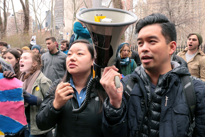 SFT Activists with megaphone.