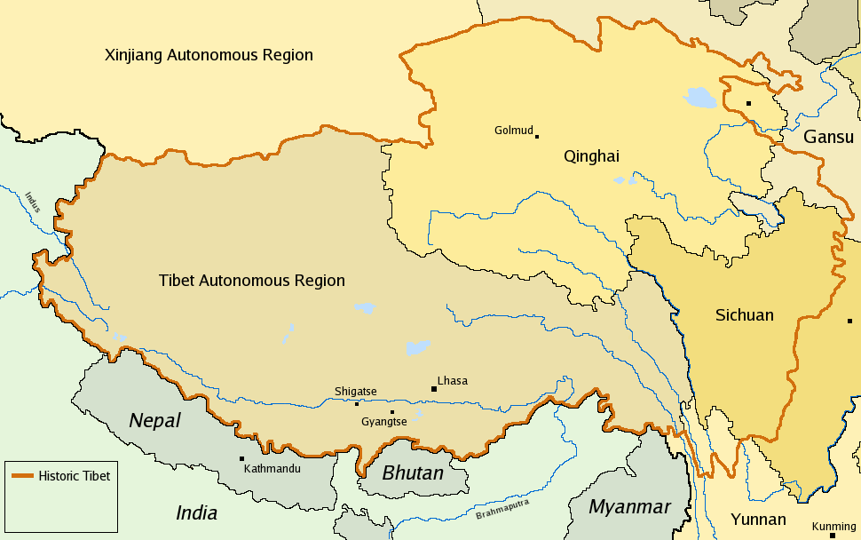 Historic map of Tibet on current borders.