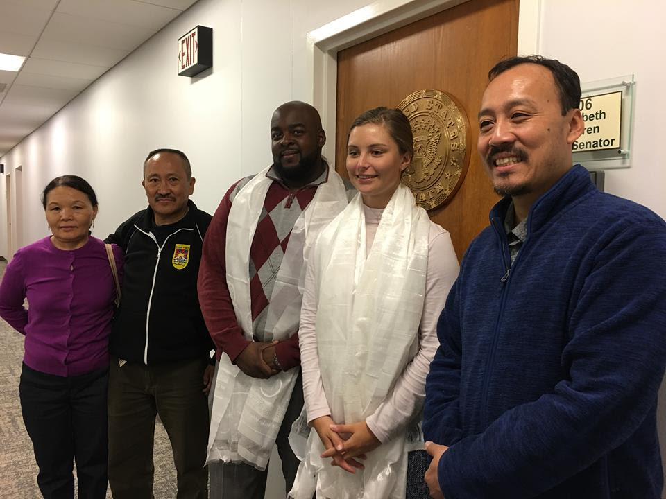 SFT Int'l Board member Thondup Tsering and members of the Tibetan community meet Senator Elizabeth Warren's Springfield office staff to urge the her to support the Reciprocal Access to Tibet Act.