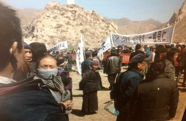 Tibetans protest mining in Tibet in 2014.