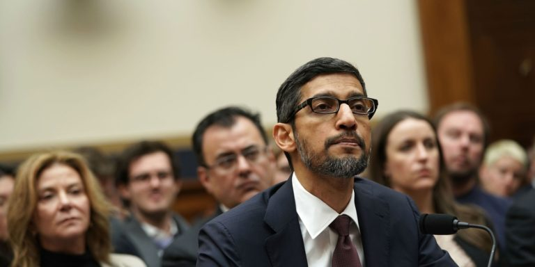 Google CEO Sundar Pichai testifies before the House Judiciary Committee on Dec. 11, 2018 in Washington, D.C.